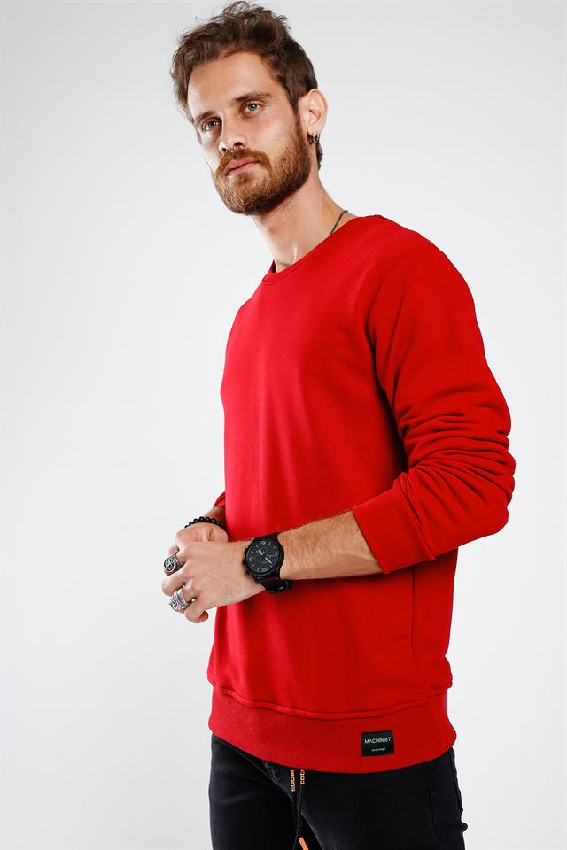 Erkek Bordo Basic Sweatshirt